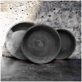 Gray handmade terracotta saucers for large pots