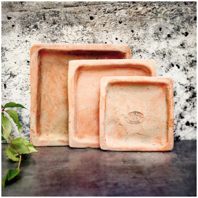 Square handmade terracotta saucers