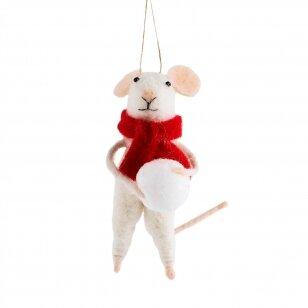 Peliukas su gniūžte - veltinio dekoracija