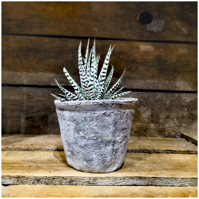 Grey handmade terracotta pot